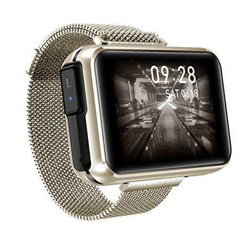 HQPCAHL Reloj Inteligente 2 En 1 con Auriculares Inalámbricos Bluetooth TWS, Pulsera Inteligente con Pantalla Táctil De 1,4',Rastreador Ejercicios, Auriculares Combinados, Pulsera con Música,Oro