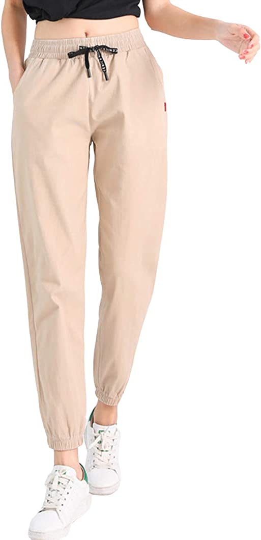 Duyang Women's Spring Elastic Waist Pants Casual Solid Cropped Pants
