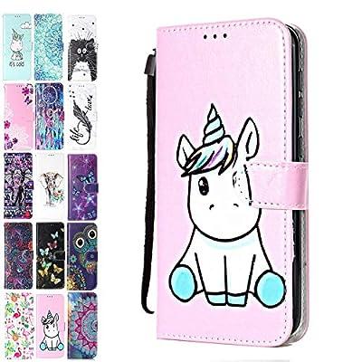 ANCASE Funda de Cuero Compatible con Apple iPhone 7 Plus / 8 Plus con Tapa Libro PU Case Cover Completa Protectora Funda para Teléfono Piel Tarjetero Modelo - Unicornio Rosa