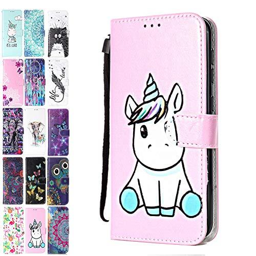 Ancase Lederhülle kompatibel für Motorola Moto G7 Play Hülle 3D Muster Einhorn rosa Handyhülle Flip Hülle Cover Schutzhülle mit Kartenfach Ledertasche für Mädchen Damen