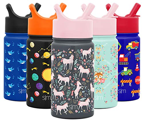 Simple Modern 14oz Summit Kids Water Bottle Thermos with Straw Lid - Dishwasher Safe Vacuum Insulated Double Wall Tumbler Travel Cup 18/8 Stainless Steel -Unicorn Fields