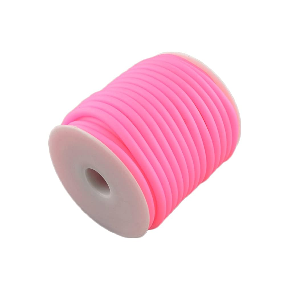 ARRICRAFT 1 Roll 10m/roll 5mm Pink Silicone Cord Rubber Cord for Bracelet Necklace Making with 3mm Hole, Wrapped Around White Plastic Spool