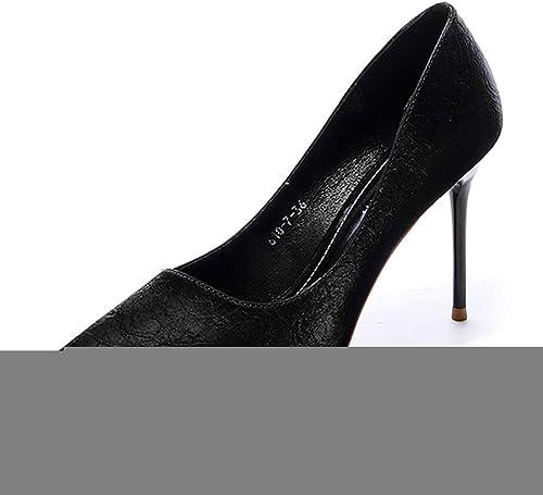 GY Stiletto Pointu Chaussures à Talons Hauts Hauts pour Femmes noir noir Light Mouth Discothèque Chaussures pour Femmes,noir-39EU  voici la dernière