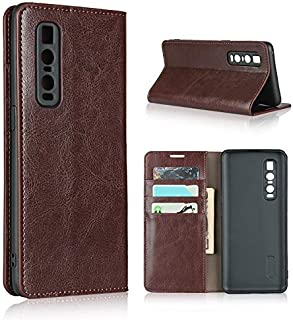 LINSMAO Cover Leather Case for Oppo Find X2 Pro, Luxury Genuine Leather Wallet Case with Viewing Stand & Card Slots, Flip ...