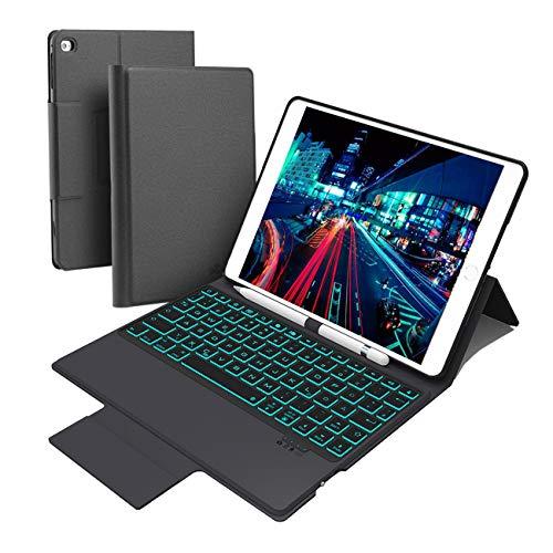 GACHI Tastatur Hülle für ipad 9,7, Kompatibel mit iPad 9.7(2017/2018)/ ipad Air 1/ Air 2/ ipad pro 9.7, 7 Farbe Hintergrundbeleuchtung Bluetooth Tastatur in Deutsch QWERTZ Layout mit Bleistifthalter