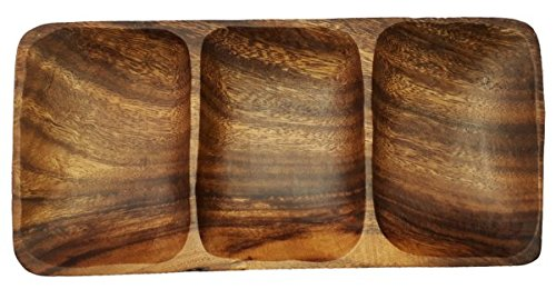 SDS Home Imports Handcrafted Hawaiin Latin Style Acacia Wood 3 Hole Sauce Bowl Kitchen Tray 9'x4.5'x1'
