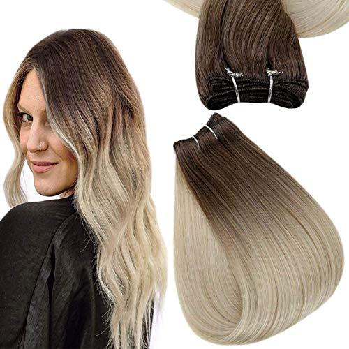 Easyouth Mensch Haar Weft Bundles 22zoll Farbe 7B/613 Braun Verblasst zu Gelbem Blond 100g Remy Ombre Bundles
