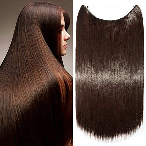 Elailite Extension Capelli Filo Invisibile Fascia Unica Lisci Finti Fibre Hair Extensions 3/4 Full Head senza Clip 50cm - Marrone Medio
