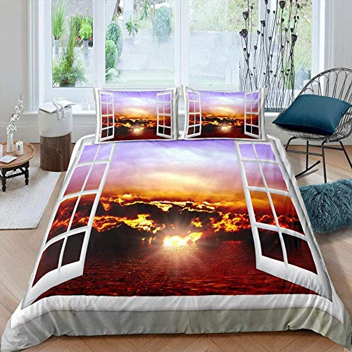 Meesovs Duvet Cover Set Yellow sky sunset clouds sea landscapeKing(240 X 220 cm) 3 Pieces Bedding Set 100% Microfibre Duvet Cover 3 PCS with Zipper Closure Bed Set - Fade + 2 pillowcases (50 x 75 Cm)