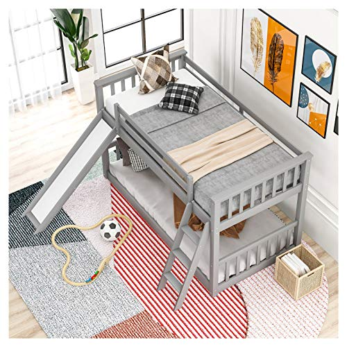 Twin Over Twin Low Bunk Bed with Slide and Ladder Suitable for Family Bedroom or Apartment Dormitory No Need for Spring Box-Easy Assembly U.S.A. Local Shipments Can Be Delivered Quickly