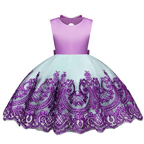 IZHH IZHH Kind Mädchen Kleider, Spitze Sleeveless Bowknot bestickte Prinzessin Hochzeit Leistung Formale Geburtstag Tutu Kleid Kleidung (12M-4Y) Ostern (Lila,110)