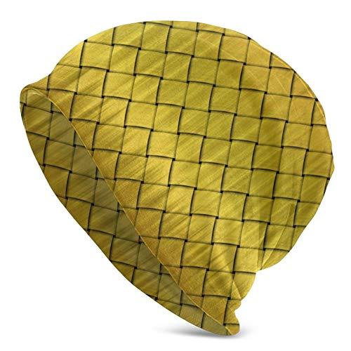 BGDFN Gorro de Punto con Textura de Color Dorado, Gorro cálido, Gorro de Calavera con puños Suaves elásticos, Gorro Diario para Unisex