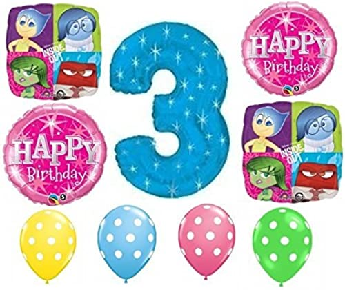 Party Supplies Inside Out Happy 3rd Birthday Balloon Decoration Kit