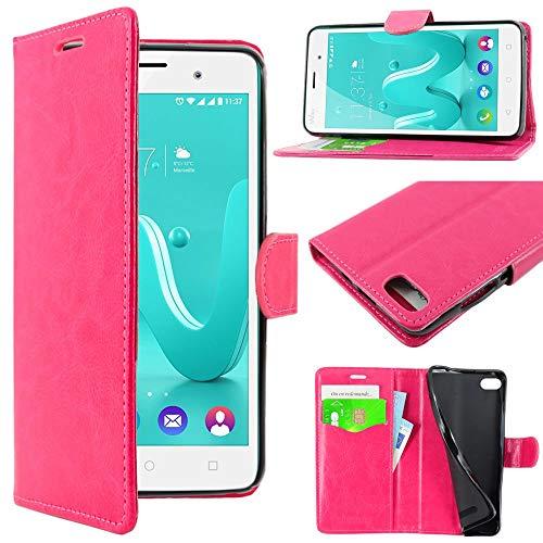 ebestStar - kompatibel mit Wiko Lenny 3 Hülle Wiko Jerry Kunstleder Wallet Hülle Handyhülle [PU Leder], Kartenfächern, Standfunktion, Pink [Phone: 145 x 73.1 x 9.9mm, 5.0'']