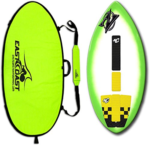 "East Coast Skimboards Deluxe Skimboard Package - Zap Wedge Medium 45"" - Green Halo Design - Rider Weight Limit 140 lbs"