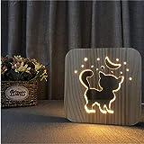 Xiaoaigekatze Holz 3D Lampe Usb Led Nachtlicht Baby Schlafen Beleuchtung Schlafzimmer Dekorative Warme Weiße Lampe Für Kinder Geschenk