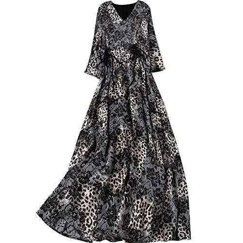 BINGQZ Cocktailjurken Zijde jurk vrouwelijke lente en zomer V-hals slank afslanken lange luipaardprint zijde A-lijn rok
