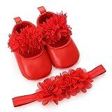 Zapatos de Bebe Niñas Fossen Recién Nacido Niñas Primeros Pasos Bordado Corazón Patrones Y Encaje Diadema de Flores (6-12 Meses, Rojo)
