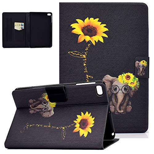 iPad Mini 5 Case 2019, Mini 4/Mini 3/Mini 2/Mini Cover, UGOcase Folio Multi-Angle Viewing Stand Smart Auto Sleep Wake PU Leather Protective Wallet Shell for iPad Mini 7.9 inch - Sunflower & Elephant