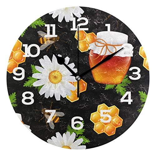 BONIPE Wanduhr, Bienenen-Honig-Gänseblümchen-Muster, geräuschlos, Acryl, 25,4 cm, Dekoration für Zuhause, Büro, Schule, runde Uhr