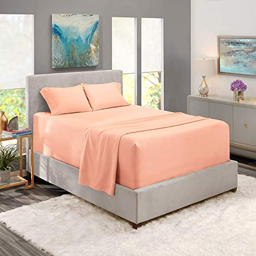 Eco Bed 400 Thread Count 3PC Fitted bedsheet for Twin Mattress Natural 100% Egyptian Cotton Sheet Twin Size, Peach Solid