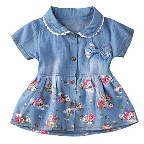 Longra Baby Kleider Mädchen Jeanskleider Kurzarm Sommerkleider mit Bowknot und Blumen Druckkleider Mädchen Denim Kleider Prinzessin Kleider Baby Mädchen Kleidung (Blue, 80cm 12Monate)