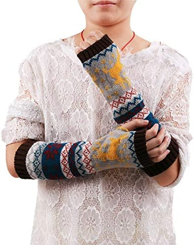 Women Fingerless Knitted Gloves Arm Warmer Winter Gloves Women's Fashion Gifts 17Aug21 - (Color: Coffee)