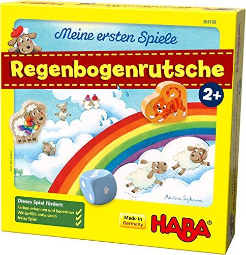 HABA 304188 - Meine ersten Spiele – Regenbogenrutsche, kooperatives Spiel ab 2 Jahren zum Kennenlernen der ersten Zahlen und Farben