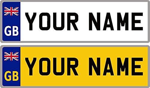 Ellis Graphix GB Flag Union Jack Personalised Waterproof Self-Adhesive 14 x 4 cm Number Plate Stickers For Childrens Kids Ride on Car, Bike, Bedroom Doors, Wheelchair, Mobility Scooter