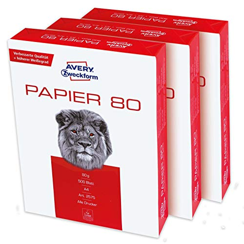 Avery Zweckform 2575 Printer Paper Copier Paper 1,500 Sheets 80 g/m2 DIN A4 Paper White for All Printers 1 Box of 3