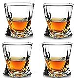 QIN Vasos De Whisky De Cristal De 4, Vasos De Barra Lowball para Beber Bourbon, Whisky Escocés, Cócteles, Coñac -...