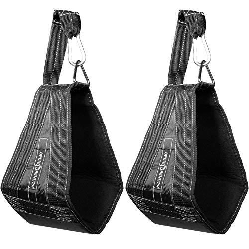 Sporttrend 24 | Bauchtrainingsschlaufen schwarz im Set inkl Karabiner | Armschlaufen für Bauchtraining