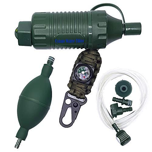 Paille filtrante CYuan - Système de filtration de l'eau - Multifonction - Avec pompe à ballon pour un débit d'eau rapide - Boussole de survie pour le camping et les activités de plein air