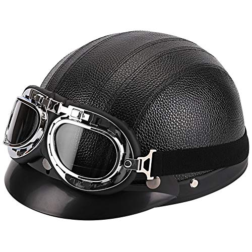 FREESOO Casco Abierto Protección para Motocicleta Scooter Bicicleta 54-60cm Ajustable con Visera UV Gafas Bufanda