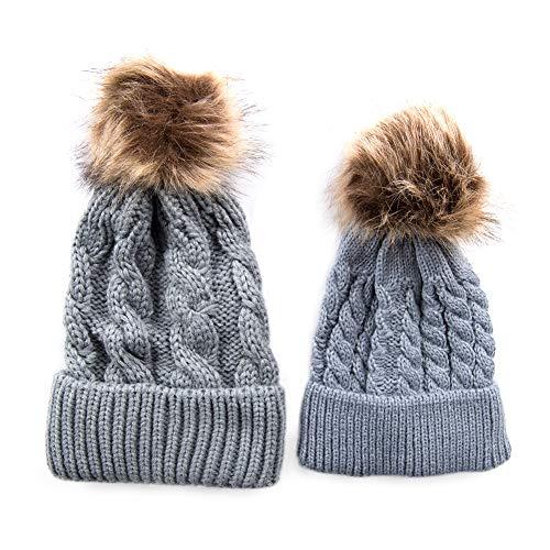 Florica Gorro de lana con pompón, de invierno, para bebé, hermano, para niños, niñas