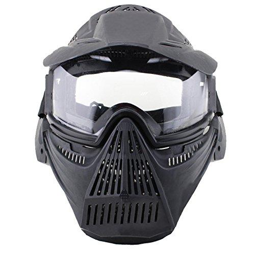 Htuk® - Máscara protectora profesional para jugar a paintball o airsoft, con pantalla transparente, ideal para disfrazarse en Halloween, negro