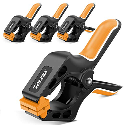 TOLESA 7-Inch Spring Clamps Powerful Force 4-Piece Nylon Clamp with Double Layer Handle for Gluing, Clamping and Securing