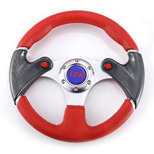 JZK New 320mm 6 Bolts Universal Steering Wheel covered with PVC-Red Color Grip and Brushed Stainless Spokes