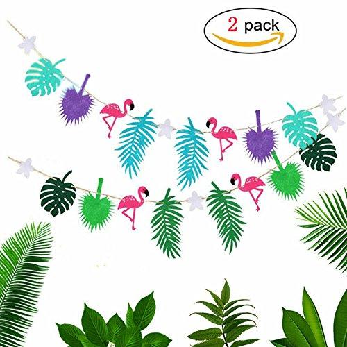 Tropical Party Banner [2 Stück] Bunting Girlande Banner Sommer Beach Party Dekorationen Hawaii Flamingo Banner