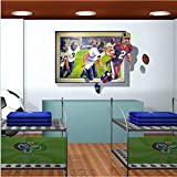 Rugby player fashion wall creative wall sticker 3D effect 110 * 75cm