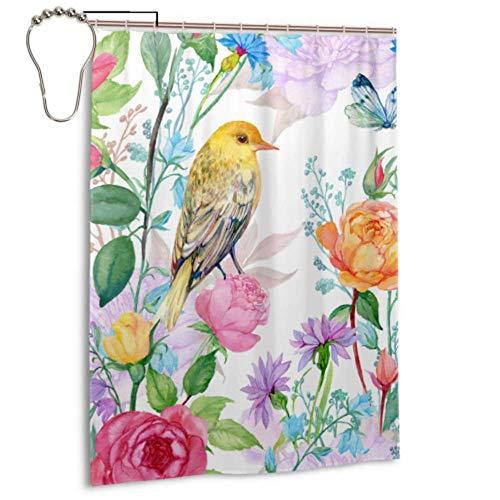 Zaqiwa Shower Curtain Boys Humming Bird Flower Design Curtain Window Bathroom 55 X 72 Inch(140x183 cm) Bathroom Farmhouse Curtains Polyester Fabric Waterproof Bathroom Curtains