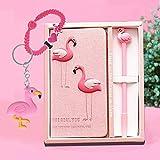 YANGTE Flamingo Notizbuch Gelstift Set - Flamingo Geheim Tagebuch Mädchen und Flamingo Stifte,Journal Reisetagebuc Schulbedarf Perfekt als Weihnachts Geburtstag Geschenk für Kinder 3 4 5 6 7 8 9