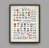 Jan346ale - Bandera marítima internacional con impresión de señal de barco vintage