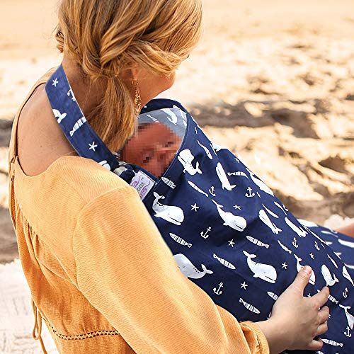 UHINOOS Nursing Cover,Infinity Soft Breastfeeding Cotton for Babies with No See Through Cotton for Mother Nursing Apron for Breastfeeding (Blue)