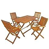 IHD Akazienholz Gartensitzgruppe 5tlg Gartentisch mit 4 Gartenstühlen klappbar