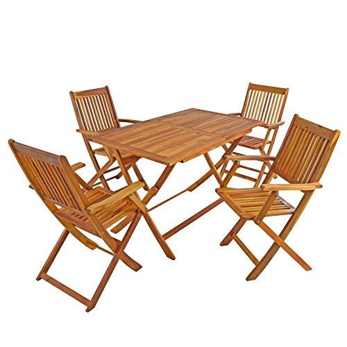 IHD IHD Akazienholz Gartensitzgruppe 5tlg, Gartentisch mit 4 Gartenstühlen, klappbar