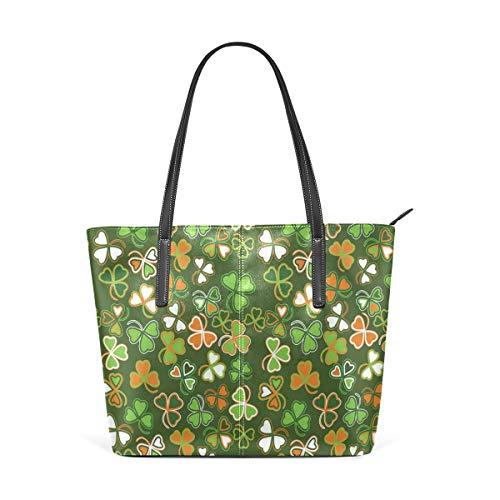 NR Multicolour Fashion Damen Handtaschen Schulterbeutel Umhängetaschen Damentaschen,Natur Glücksklee Print