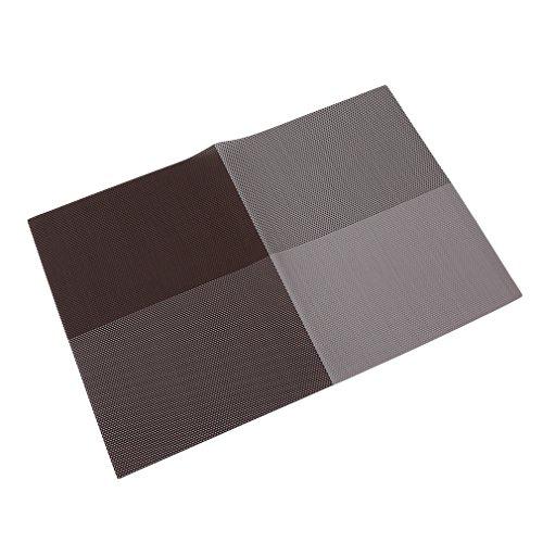 HENGSONG Brun Créatif Napperons Couleur Grille Swastika Sets de Table Pad Bowl