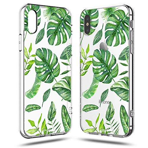 iPhone XR Case,Girls Women Cute Tropical Banana Bahama Green Leaves Summer Hawaii Beach Flowers Floral Green Big Leaves Chic Palm Tree Nature Plants Pattern Soft Clear Case Compatible for iPhone XR
