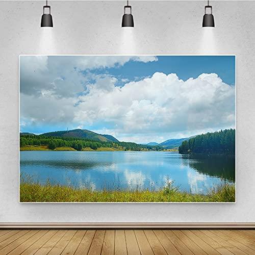 Fondo de fotografía de paisaje Tema de la naturaleza Lago Pastizales Telón de fondo para sesión de fotos Studio Booth Props Atrezzo Tela resistente a las arrugas ( Color : Blue1 , Size : 10x10ft )